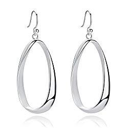 SA SILVERAGE Sterling Silver Twisted Hoop Earrings Oval Round Dangle Teardrop Earrings For Women