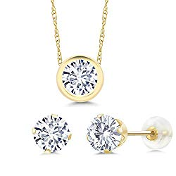 14K Yellow Gold Pendant Earrings Set Forever One (GHI) Round 2.40ct (DEW) Created Moissanite by Charles & Colvard
