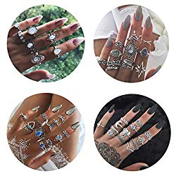 Besteel 44 Pcs Knuckle Rings Set for Women Girls Punk Joint Finger Ring Set Vintage