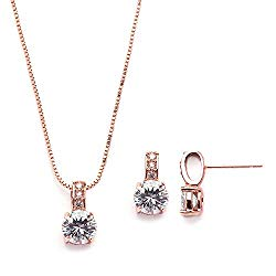 Mariell Rose Gold Round-Cut Cubic Zirconia Necklace Earrings Set for Brides, Bridesmaids & Everyday Wear