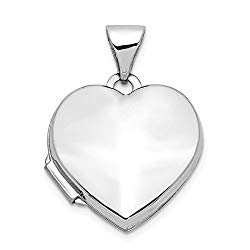 14k White Gold Heart Shaped Photo Pendant Charm Locket Chain Necklace That Holds Pictures Fine Jewelry Gifts For Women For Her