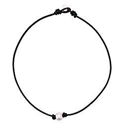 BODYA White Single Faux Pearl Necklace Choker Pearl Ends Black Leather Cord Women Jewelry 17″ Handmade