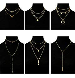 Masedy 6Pcs 18K Gold-Plated Layered Choker Necklace for Women Girls Long Chain Necklace Adjustable