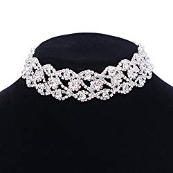 Paxuan Luxury Womens Clear Rhinestone Crystal Silver Choker Necklace Wide Collar Necklace Adjustable (Silver Plated White Crystal)