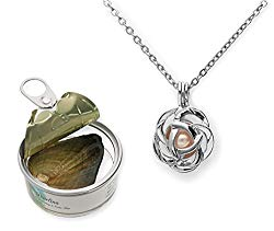 Pearlina Rose Flower Cultured Pearl Oyster Necklace Set Silver Plated Pendant w/Stainless Steel Chain 18″