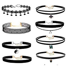 Prohouse Gothic Womens Rubber Pendant Necklace Chain Double Line Henna Tattoo Choker Necklace Stretch Elastic Set