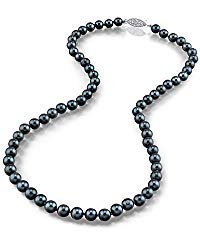 THE PEARL SOURCE 14K Gold 5.0-5.5mm AAA Quality Round Genuine Black Japanese Akoya Saltwater Cultured Pearl Necklace in 24″ Matinee Length for Women