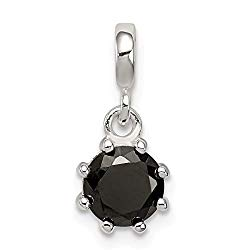 925 Sterling Silver Black Cubic Zirconia Cz Enhancer Necklace Pendant Charm Fine Jewelry Gifts For Women For Her