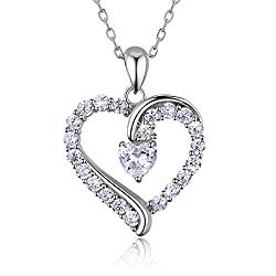 """925 Sterling Silver heart necklace – Billie Bijoux """"You Are the Only One"""" Love Platinum Plated Diamond pendant 18″ Valentine's Day"""