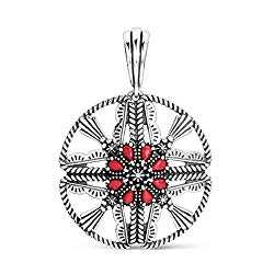 .925 Sterling Silver & Red Coral Openwork Native Shield 2-3/8″ Round Enhancer Pendant