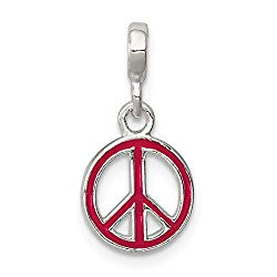 925 Sterling Silver Red Enameled Peace Sign Enhancer Necklace Pendant Charm Fine Jewelry Gifts For Women For Her