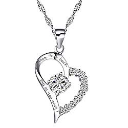 Chaomingzhen Sterling Silver Heart Pendant Enhancer Women Necklace CZ I Love You to The Moon and Back