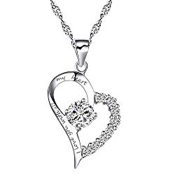 Chaomingzhen Sterling Silver Heart Pendant Enhancer Women Necklace CZ I Love You with All My Heart