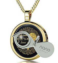 I Love You Necklace 120 Languages Inscribed in 24k Gold on Round Onyx Pendant, 18″ – NanoStyle Jewelry