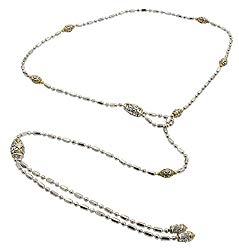 John Medeiros Attractive Gold and Silver Tone Beaded Collection Open Lariat Loop Cubic-Zirconia Pavè Setting Handcrafted 24″ Necklace Durable and Classy Made in America