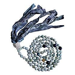 Live Radiantly 108 Mala Bead Necklace – 8mm Aquamarine Blue Tiger's Eye Stones – Clear Quartz Guru Bead – Sari Silk Tassel – Meditation, Mindfulness, Yoga – Mala to Foster Calm, Protection and Peace