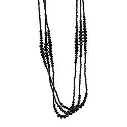 Vintage Midnight Black Sparkly Beaded Necklace Jewelry (Very Long – 37 Inches)