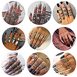 Besteel 58-82 Pcs Womens Knuckle Rings for Girls Stackable Midi Joint Finger Ring Set