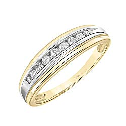 Brilliant Expressions 14K Yellow Gold 1/5 Cttw Conflict Free Diamond Channel-Set Wedding or Anniversary Band (I-J Color, I2-I3 Clarity)
