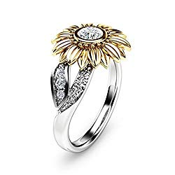 DALARAN Sunflower Cubic Zirconia Ring with Side Stone Copper Leaf Eternity Band for Women