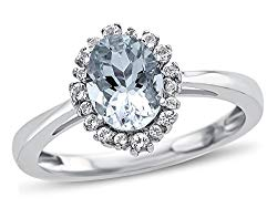 Finejewelers Solid 10k White Gold 8x6mm Oval Center with White Topaz Side Stones Halo Ring
