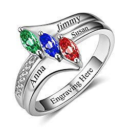 Lam Hub Fong Personalized Mothers Rings with 3 Simulated Birthstones Rings for Mom Mothers Day Rings Grandmother Family Name Rings Mother's Day Rings for Mom