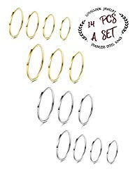 LOYALLOOK 8-14Pcs Stainless Steel Women's Plain Band Knuckle Stacking Midi Rings Comfort Fit Silver/Gold/Rose Tone