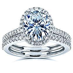 Oval Forever One Moissanite and Diamond Halo Bridal Rings Set 2 3/8 CTW 14k White Gold (DEF/VS, GH/I)