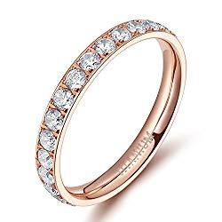 TIGRADE 3mm Women Titanium Eternity Ring Cubic Zirconia Anniversary Wedding Engagement Band Size 4 to 13