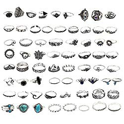 Xgood 66 Pcs Vintage Knuckle Ring Mid Rings Set Stackable Rings Set Finger Rings for Women Girls Children Teenagers Decorations Gifts