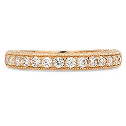 Clara Pucci Round Cut Solitaire Pave Set Wedding Promise Bridal Eternity Engagement Band Ring 14k Yellow Gold, 0.85CT