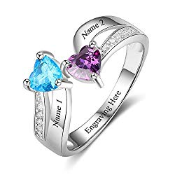 Love Jewelry Personalized Mother Daughter Rings with 2 Heart Simulated Birthstones Custom Women Promise Rings for Her