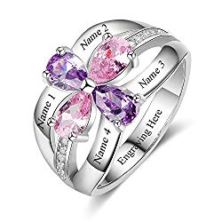Love Jewelry Personalized Mother Rings with Simulated Birthstones Engraved Promise Rings for Women