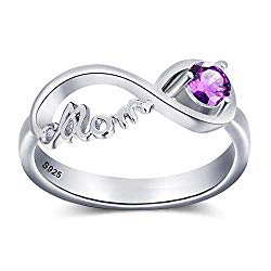 Personalized Infinity Mothers Rings with Simulated Birthstones Promise Rings for Mom Anniversary Jewelry for Family