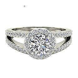Split Shank Halo Engagement Ring Diamond Round Center 1.40 ctw 14K Gold – GIA Certificate