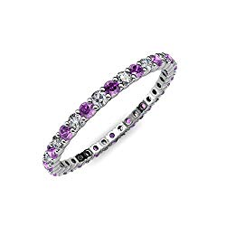 TriJewels Amethyst & Diamond 2mm Common Prong Eternity Band 0.65-0.83 Carat tw in 14K Gold