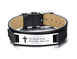 Adjustable Men's Leather Bracelets Engraved with Inspiring Bible Verse Quote,Christian Religious Jewelry for Dad Father