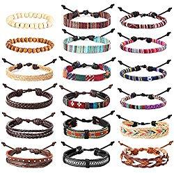Besteel 18 Pcs Braided Leather Bracelet for Men Women Hemp Cords Wooden Beads Cuff Wrap Bracelet Adjustable