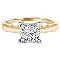 Clara Pucci 0.80 CT Princess Brilliant Cut CZ Designer Solitaire Ring 14k Yellow Gold