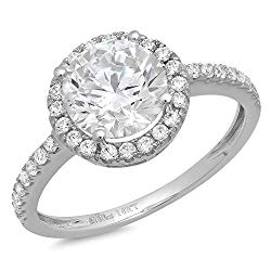 Clara Pucci 1.65 CT Round Cut CZ Halo Designer Solitaire Ring Band 14k White Gold