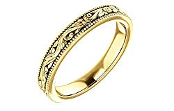 FB Jewels 14K Yellow Gold Design-Engraved Wedding Band Size 7