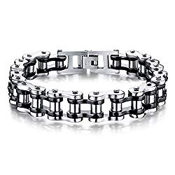 Feraco Mens Bikers Bracelet Stainless Steel Motorcycle Bike Chain Bracelets 8.4 Inch, Black&Silver