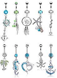 FIBO STEEL 9-10 Pcs Dangle Belly Button Rings for Women Girls 316L Surgical Steel Curved Navel Barbell Body Jewelry Piercing
