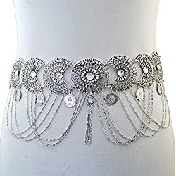 Idealway Vintage Waist Chain Hollow Carving Rhinestone Crystal Body Chain Summer Beach Body Waist Chain Jewelry