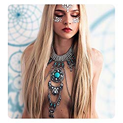 KissYan Boho Statement Turquoise Necklace Crossover Harness Bikini Waist Belly Sexy Body Chains for Women