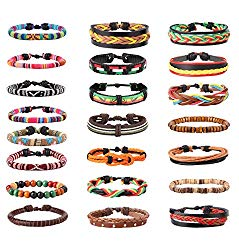 LOYALLOOK 22-24Pcs Leather Bracelet Mens Bracelet Hemp Cords Wooden Beads Adjustable Wrap Bracelet for Women Men