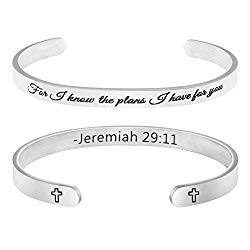 MEMGIFT Gifts for Her Religious Bracelet Christian Jewelry Scripture Bible Verse Engraved Cuff Bangle for I Know The Plans I Have for You Jeremiah 29:11″
