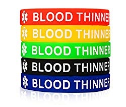 MPRAINBOW 5 Pcs Silicone Rubber Blood THINNER Medical Alert ID Wristband Emergency Bracelet,5 Colors