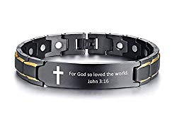 MPRAINBOW Scripture Faith Christian Bible Verse Engraved Inspirational Cross ID Bracelet Magnetic Therapy Bracelet for Men