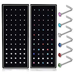 SMUOBT 120pcs 22G L Shaped Stainless Steel Nose Studs Rings Piercing Pin Body Jewelry 1.5mm 2mm 2.5mm a Set White and Colour